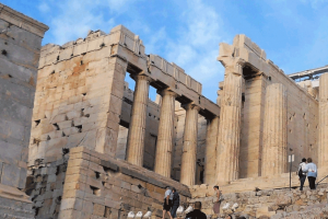 The entrance of the Acropolis by the stairs of the Propylaea.